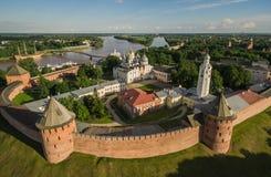 Кремль в Velikiy Новгороде, виде с воздуха Стоковые Изображения