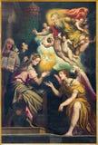 КРЕМОНА, ИТАЛИЯ, 2016: Краска аннунциации в Chiesa di Сан Agostino Giulio Campi (около 1571) Стоковая Фотография