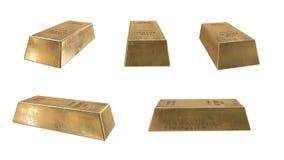 кренить золот в слитках золотистый слиток реалистический перевод 3D Изолят на белизне Стоковое Изображение