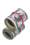 100 кренов доллара на белизне Стоковое Фото