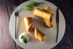 Крены блинчика Концепция масленицы и русской традиционной еды Стоковое Фото
