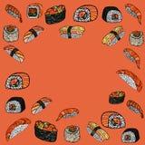 крены установили суши Японская еда Нарисованное рукой illustratio вектора Стоковое Фото