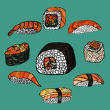крены установили суши Японская еда Нарисованное рукой illustratio вектора Стоковое Изображение