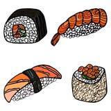 крены установили суши Японская еда Нарисованное рукой illustratio вектора Стоковые Изображения