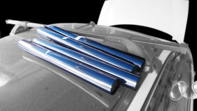 Крены фильма 4 подготавливая ждать обруч, на верхней части wiind автомобиля стоковое изображение
