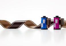 крены фильма фото 35mm белизна изолированная предпосылкой стоковая фотография