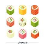 Крены Uramaki установили значки Стоковое Изображение