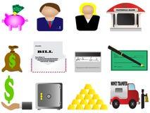 кренящ установленные иконы финансов Стоковые Фото