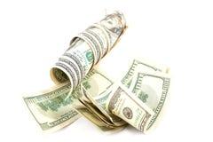 Крен банкнот доллара на белой предпосылке Стоковые Фото