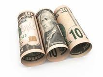 Крен 10 банкнот доллара Стоковые Фото