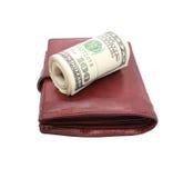 Крен долларов на старом кожаном портмоне Стоковое Изображение RF