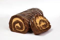 Крен печенья шоколада с сливк с шоколадом Стоковые Фотографии RF