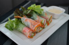 Крен салата на белом блюде Стоковое Фото