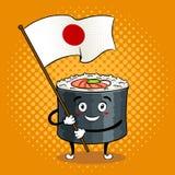 Крен суш с японским вектором искусства шипучки шпаги Стоковые Фотографии RF