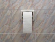 Крен туалетной бумаги в центре  стены Стоковые Изображения