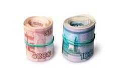 Крен тысячи и пять тысяч рублевок банкнот Стоковые Фото