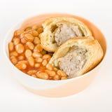 Крен & фасоли сосиски Стоковые Фотографии RF