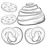 Крен хлебопекарни, biscuiits с шоколадом, иллюстрацией вектора brecel изолированной на белом стиле эскиза предпосылки сладостно иллюстрация вектора