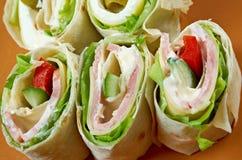 Крен хлеба пита сандвича с сыром Стоковые Фото
