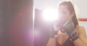 Крепко ударять женскую тренировку боксера в клубе бокса сток-видео