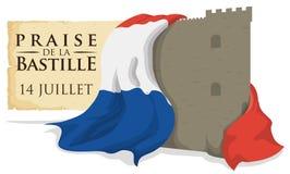 Крепость Бастилии с флагом Франции и перечень вспоминая бушевать, иллюстрация вектора иллюстрация штока