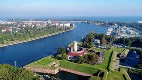 Крепость в Гданьске, Польша Wisloujscie Воздушное видео сток-видео