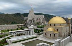 Крепость городка Akhaltsikhe в Georgia в пасмурном дне Стоковые Изображения