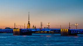 Крепость моста и Питера и Пола Dvortzovy в Санкт-Петербурге Стоковые Фотографии RF