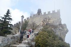 Крепость на скале в Сан-Марино Стоковое Фото