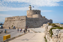 Крепость Санта Клауса на пристани в гавани Mandraki Стоковая Фотография RF