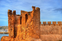 крепость Dar-el-Bahar на атлантическом побережье Safi, Марокко Стоковая Фотография RF