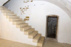 Крепость Fagaras - внутренняя лестница Стоковое фото RF