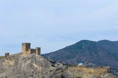 крепость fortifiaction консула замока genoese Sudak Крым Стоковая Фотография RF