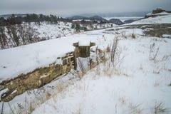 Крепость Fredriksten, южная стена Curtine (сцена зимы) Стоковые Фото