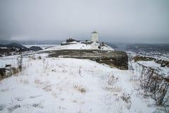 Крепость Fredriksten, южная стена Curtine (сцена зимы) Стоковые Изображения