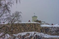 Крепость Fredriksten, южная стена Curtine (сцена зимы) Стоковое Изображение