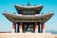 Крепость Seojangdae Hwaseong, корейская традиционная архитектура в Сувоне, Корее Стоковое Изображение