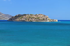 Крепость Spinalonga на острове Крита Стоковая Фотография RF