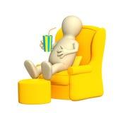 кресло 3d имея нежность остальных марионетки Стоковые Изображения