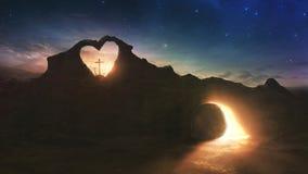 3 креста и пустой могила Стоковая Фотография RF