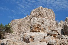 Крестоносец Knights замок, Tilos стоковое фото