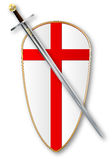 Крестоносцы защищают и шпага иллюстрация вектора