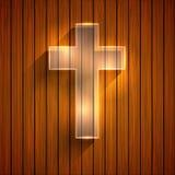 Крест вектора на деревянной предпосылке. Eps 10 Стоковая Фотография