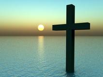 Крест в воде на восходе солнца 21 Стоковые Изображения
