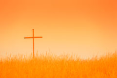 Крест в поле Стоковые Фото