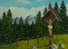 Крест Иисуса рядом с тропой в горах стоковые изображения rf