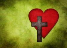 Крест и сердце стоковое изображение
