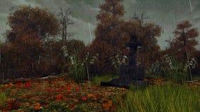 Крест надгробной плиты в лесе осени в дожде Стоковые Фотографии RF
