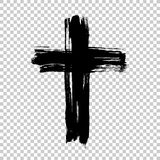 Крест нарисованный рукой Крест Grunge Крест сделанный с ходом щетки Стоковое Фото