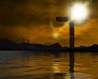 Крест на береге озера иллюстрация штока